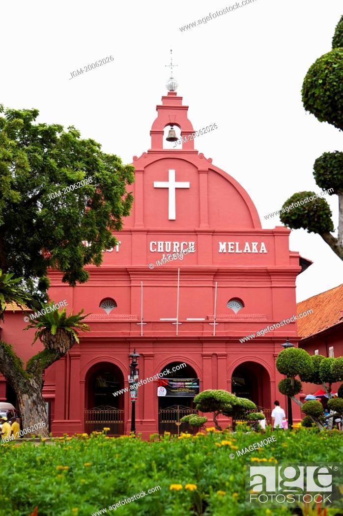 Stock Photo: Malaysia, Melaka State, Portugis Square, Church.