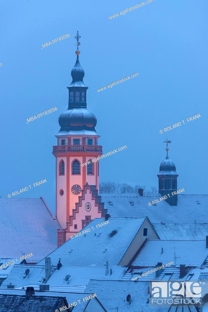 Stock Photo: Germany, Baden-Württemberg, Karlsruhe, Durlach, view over the snowy old town. Protestant town church and town hall.