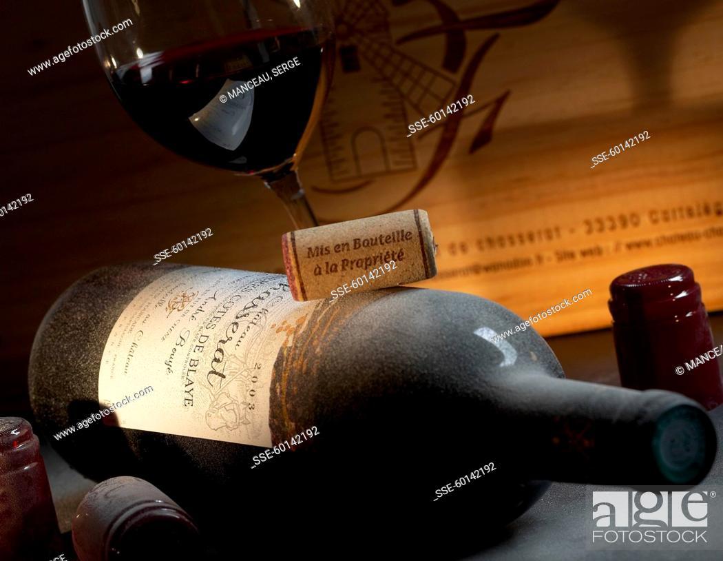Stock Photo: Bottle of Moulin de Chasserat red wine.