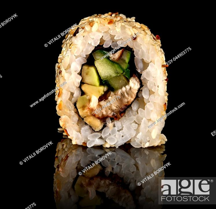 Stock Photo: Single sushi roll california rotated. Black background. Reflection.