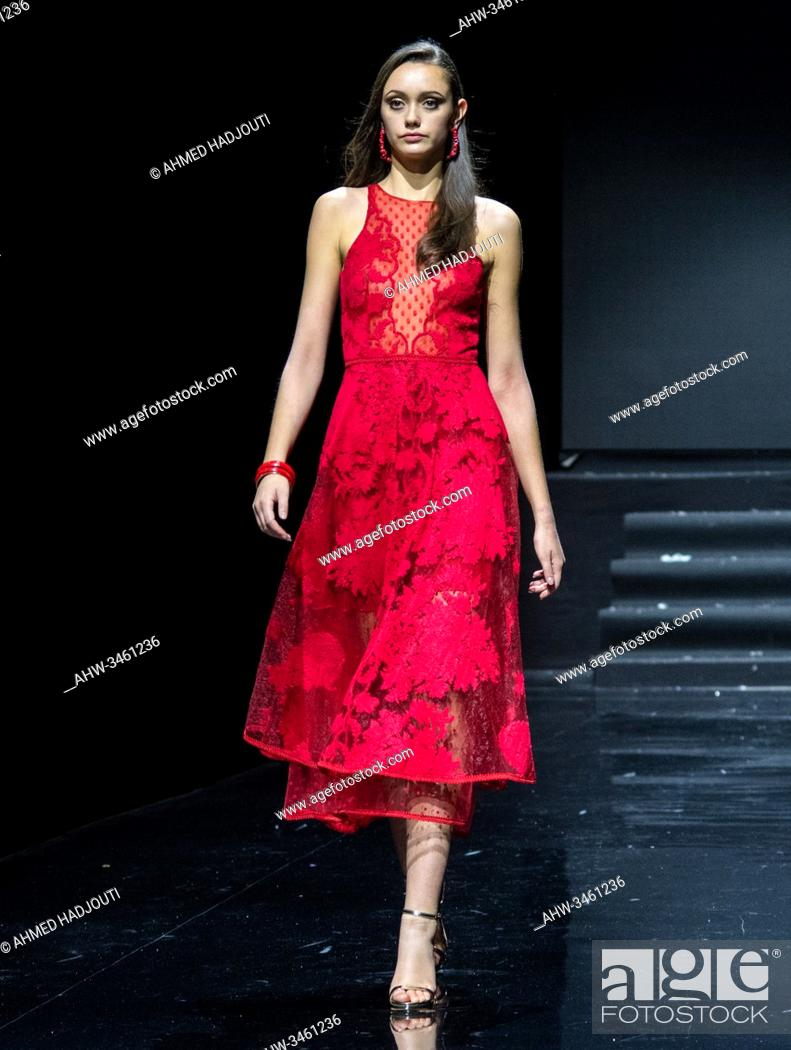 Stock Photo: PARIS, FRANCE - JANUARY 20: A model walks the runway during the Hindi Couture Show As part of the Oriental Fashion show during the Paris Fashion Week on January.