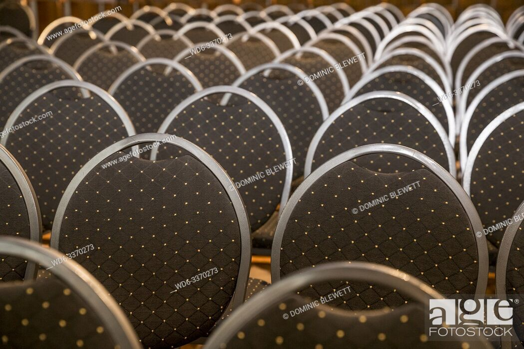 Stock Photo: Rows of chairs at an event at Haus Ungarn in Berlin, Germany.