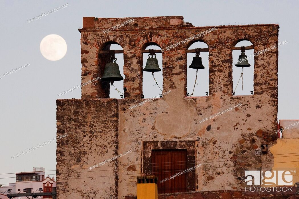 Stock Photo: Bell Tower and Moon.