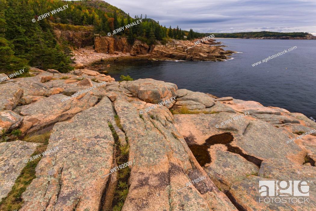 Stock Photo: Rocky Coast near Otter Cliffs in Acadia National Park on Mount Desert Island, Maine, USA.