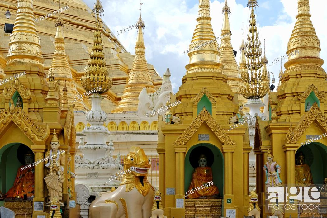 Stock Photo: The Shwedagon Pagoda officially titled Shwedagon Zedi Daw also known as the Great Dagon Pagoda and the Golden Pagoda, is a 99 metres  325ft  gilded pagoda and.