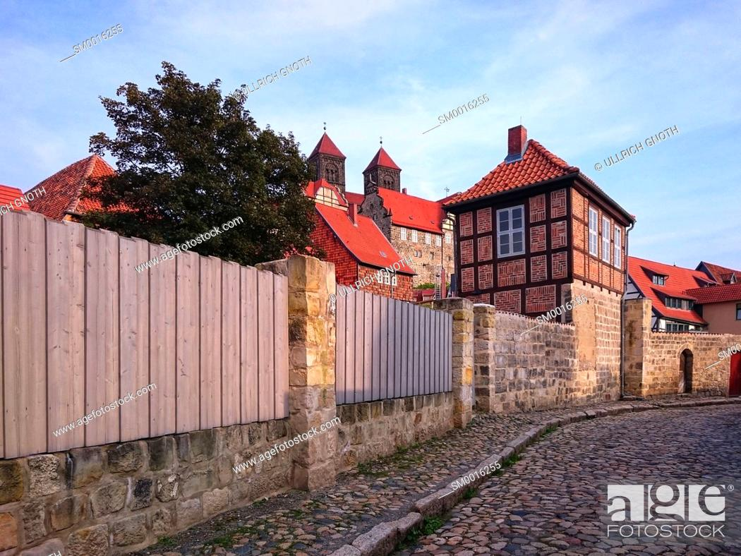 Stock Photo: Castle and Collegiate Church St. Servatius of Quedlinburg, Saxony-Anhalt, Germany.