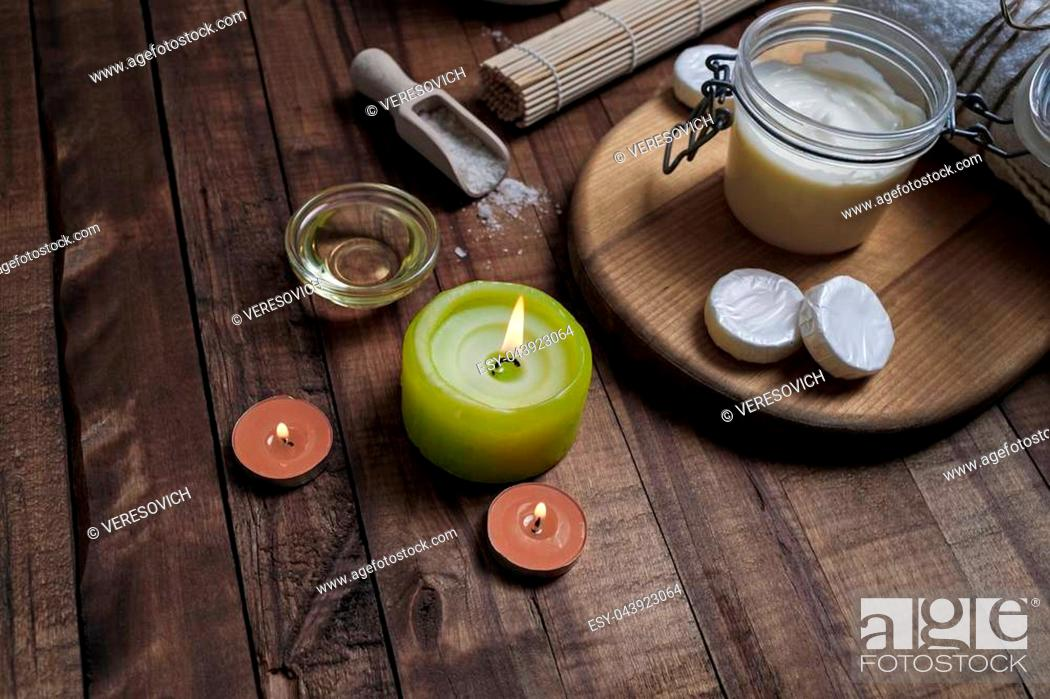 Stock Photo: Spa cosmetic objects on wood table background. Beauty threatment concept.