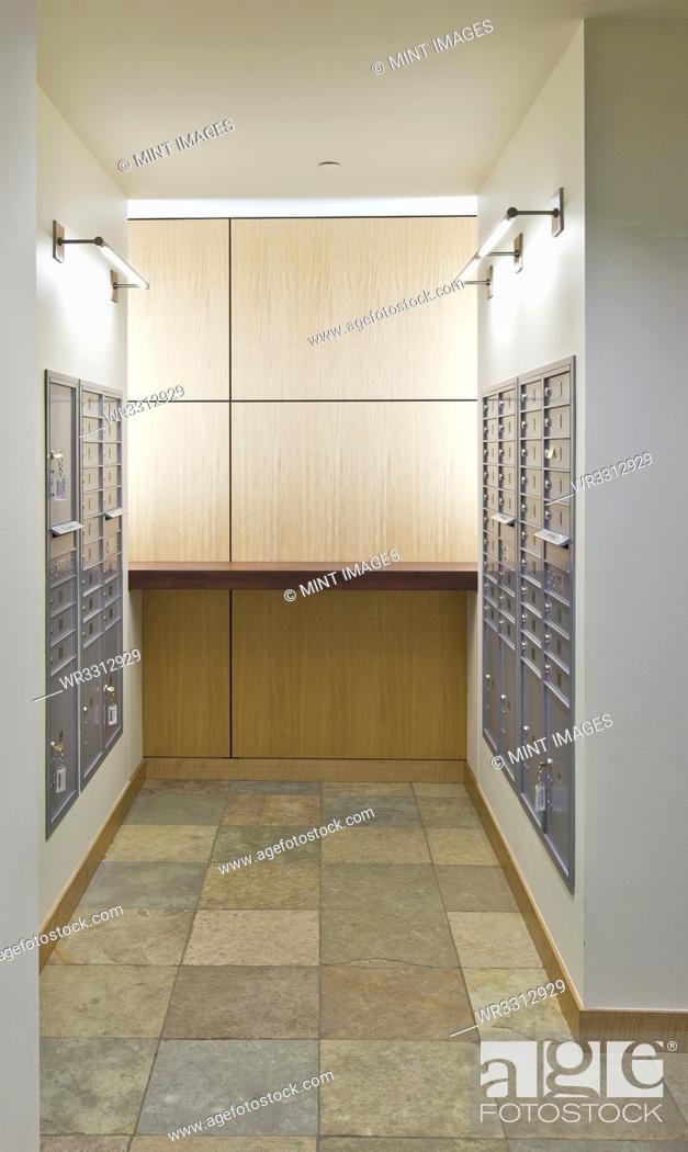 Photo de stock: Stainless Steel Postal Boxes.