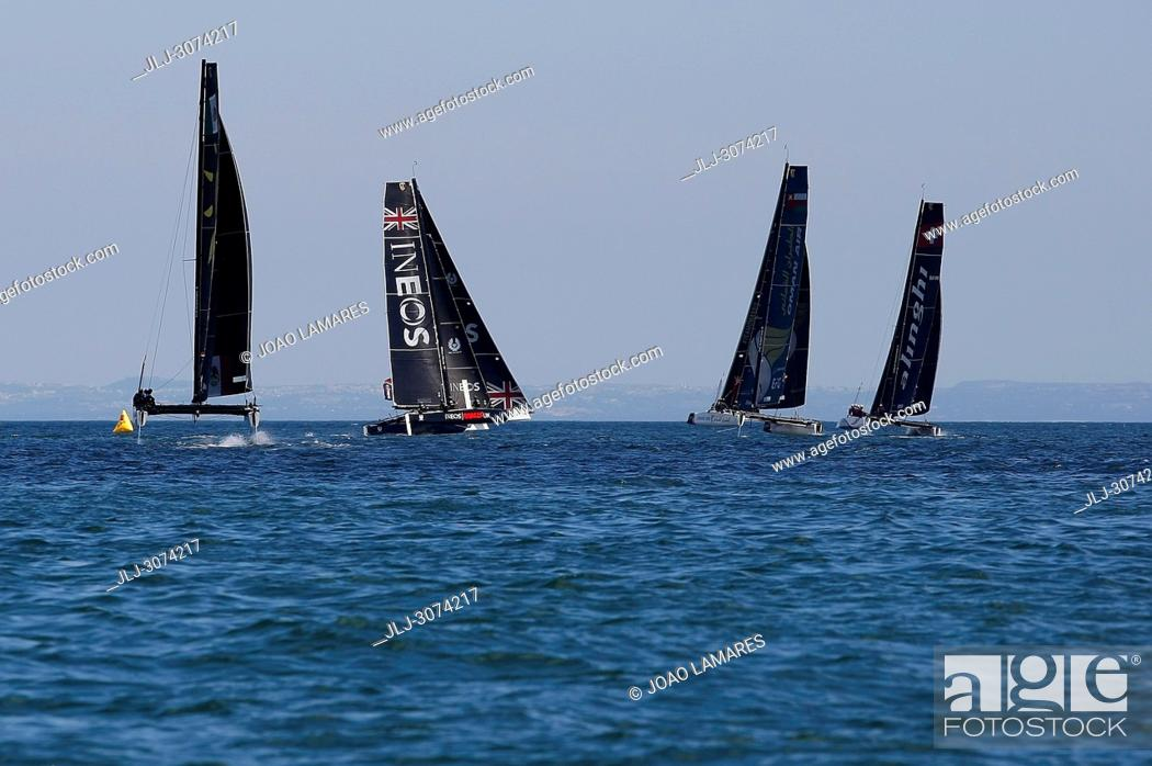 Stock Photo: Sailing: Extremesailing round 4 at Baia de Cascais, Cascais, Portugal..Team Portugal, spectial guest for this round of Estremesailing Series.
