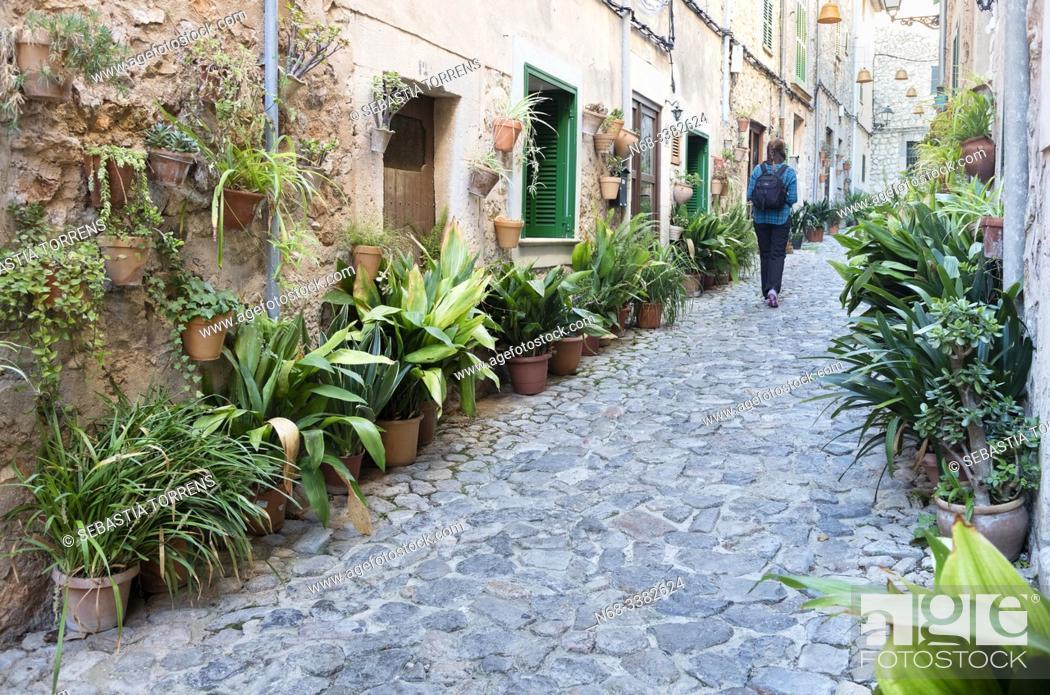 Stock Photo: Street of Valldemossa, Majorca, Spain.