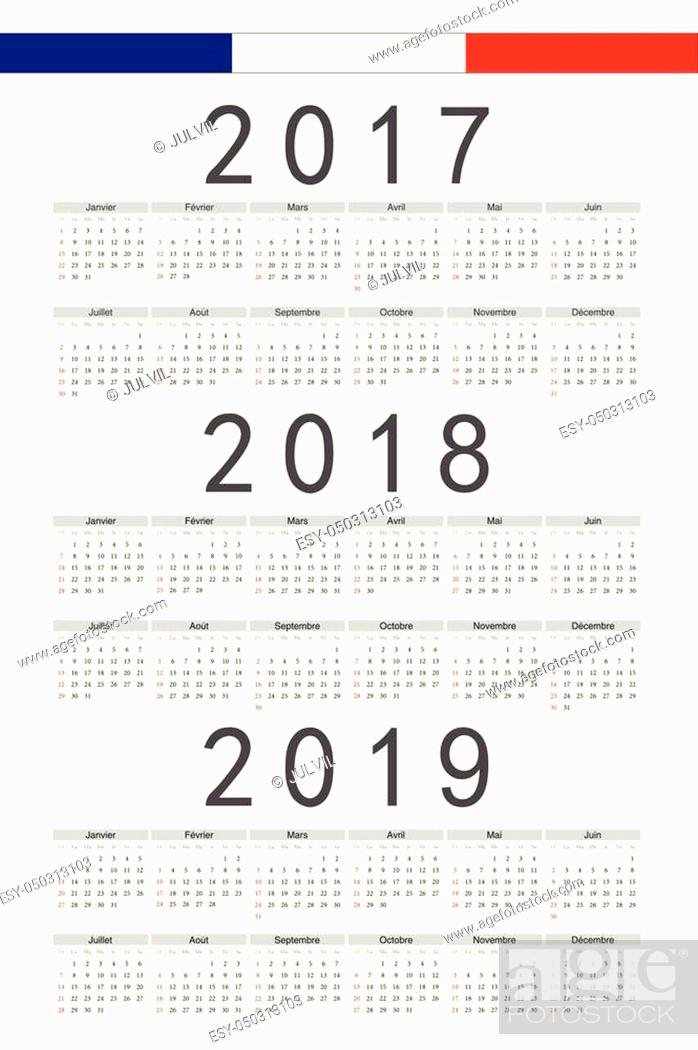 Stock Vector: Set of black rectangle French 2017, 2018, 2019 year vector calendars. Week starts from Sunday.