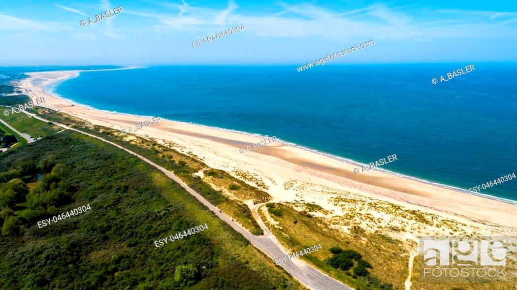 Stock Photo: Oosterschelde flood barrier in the Netherlands at the Northern Sea taken from above with a drone.