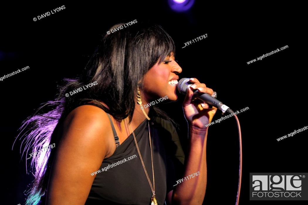 Stock Photo: Mica Paris, English soul blues singer performing in the main stage marquee  Maryport Blues Festival, 2010  Cumbria, England.