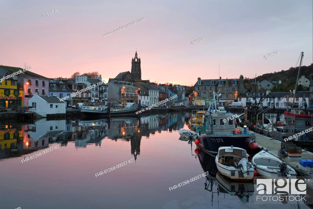 Stock Photo: Boats moored in town harbour at sunset, Tarbert, Kintyre Peninsula, Loch Fyne, Argyll and Bute, Scotland, october.