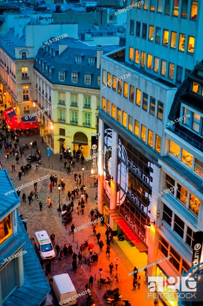 Stock Photo: Paris, France, Overview, Shopping, Pedestrian Street, Outside, Dusk, Rue Caumartin.