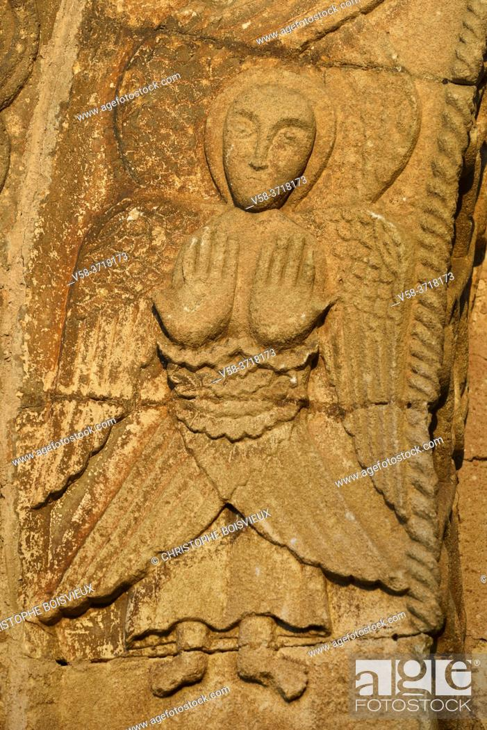 Stock Photo: France, Dordogne, Saint-Martin de Besse church (11-12th C), Angel.