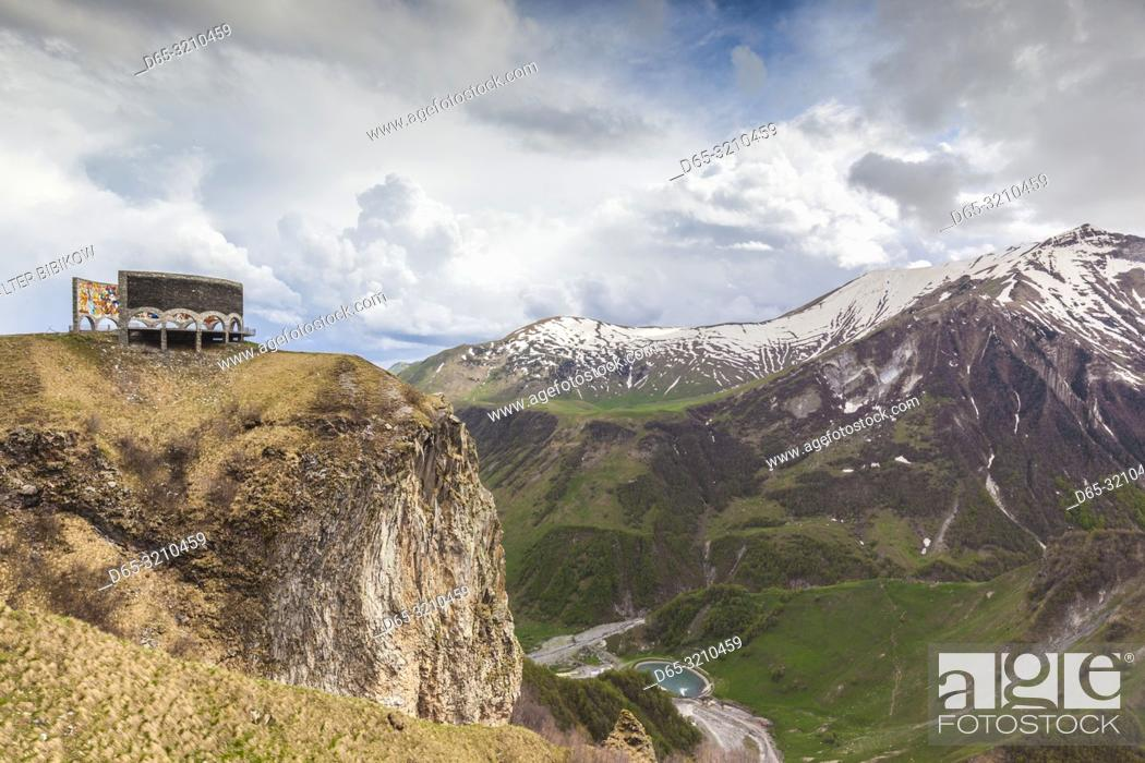 Stock Photo: Georgia, Georgian Military Highway, Kobi, Soviet-era Caucasus Mountains Monument.