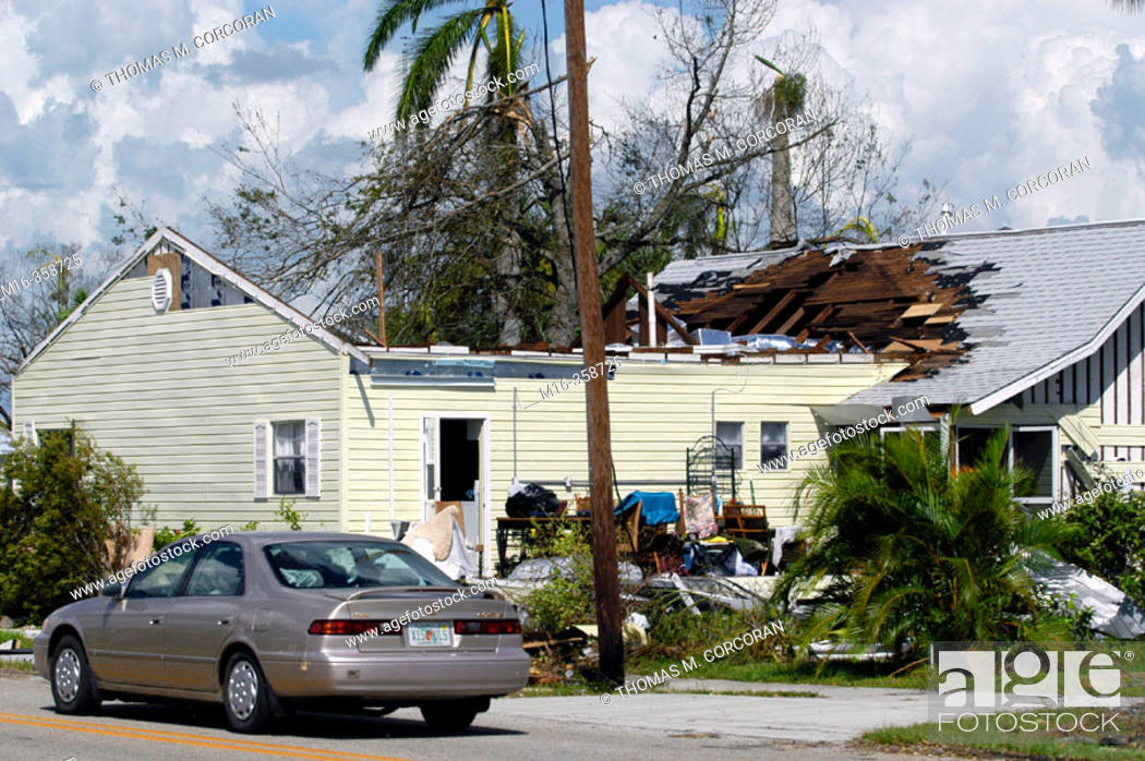 Stock Photo: Hurricane Charley. Punta Gorda. Wrecked home.