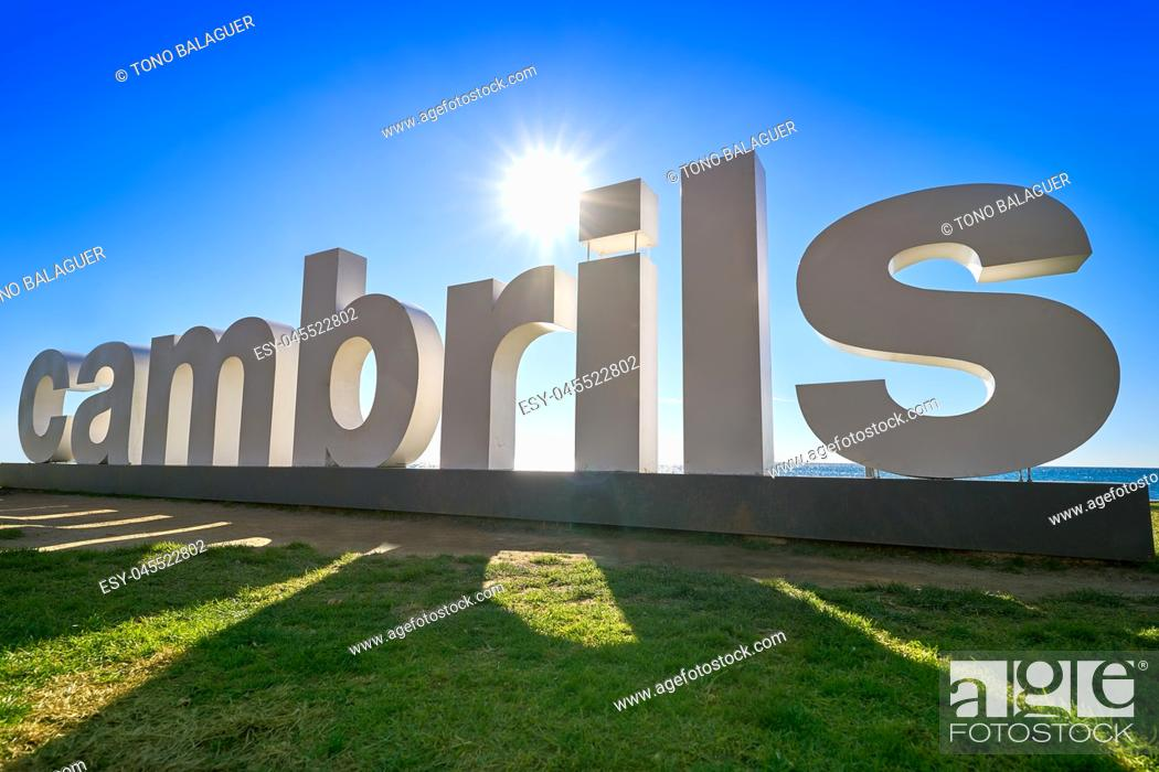 Stock Photo: Cambrils welcome road sign in Tarragona at Costa Daurada of Catalonia.
