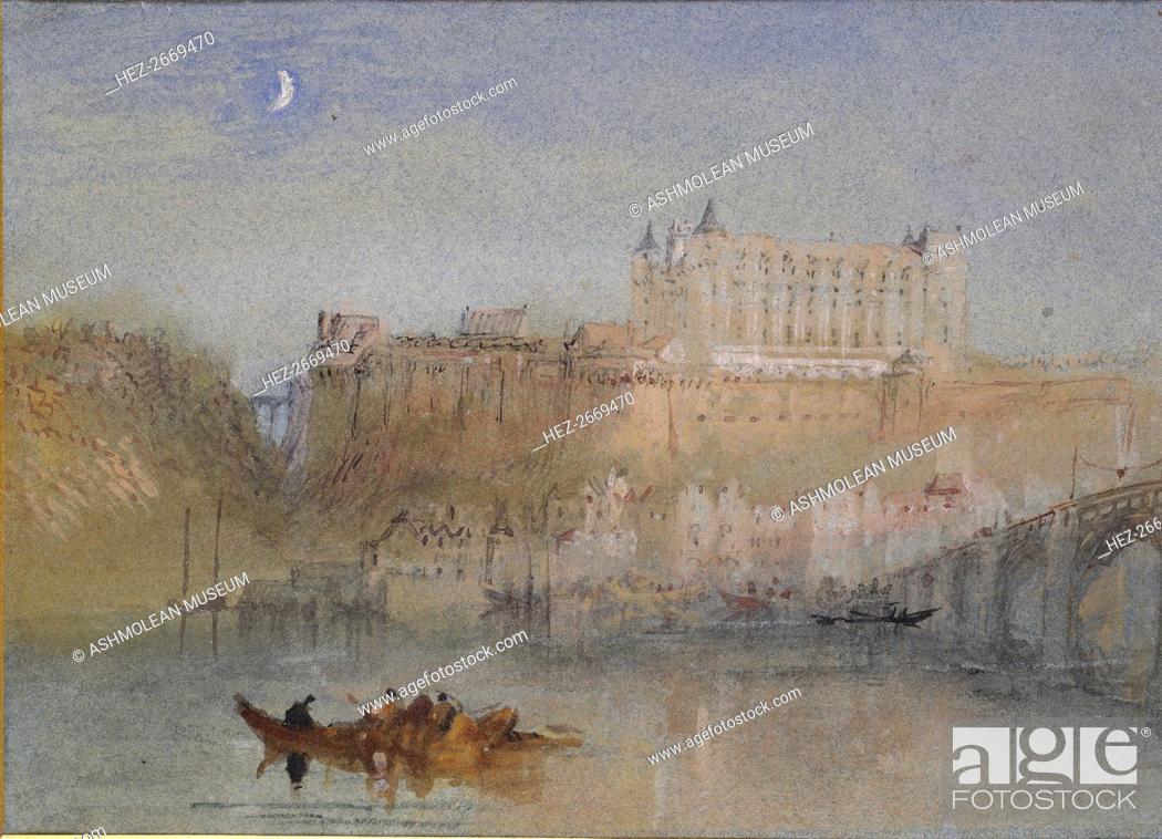 Stock Photo: The Bridge and Chateau at Amboise, c1830. Artist: JMW Turner.