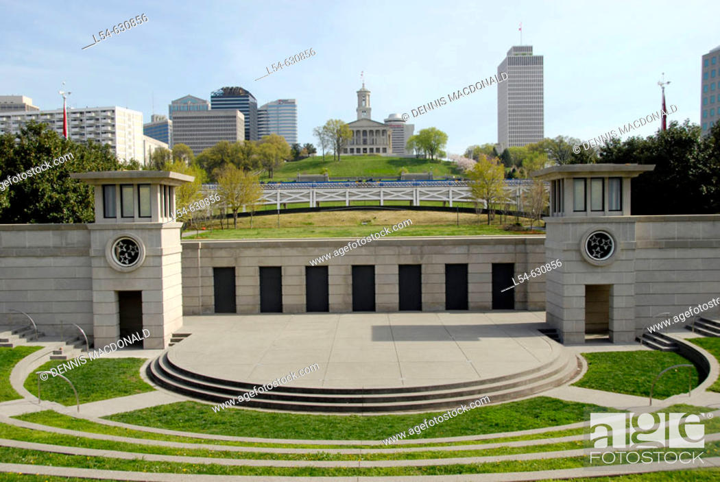 Stock Photo: Skyline of Nashville and State Capitol from Tennessee Bicentennial Capitol Mall State Park. Nashville. Tennessee. USA.