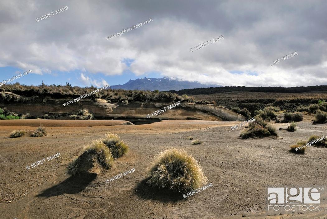 Stock Photo: Volcanic landscape at Mount Ruapehu, Tongariro National Park, UNESCO World Heritage Site, Turangi, North Island, New Zealand.