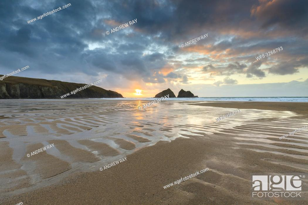 Stock Photo: Beach patterns at Holywell Bay on the North coast of Cornwall, captured shortly before sunset in late February.