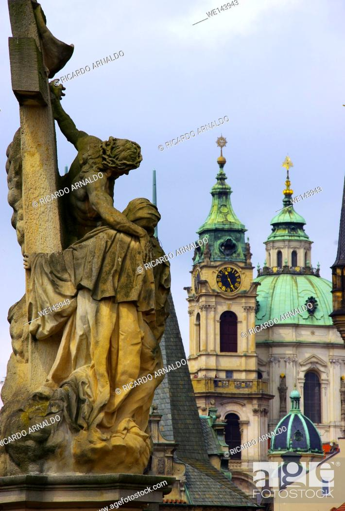 Stock Photo: Statue at Charles Bridge, Prague.