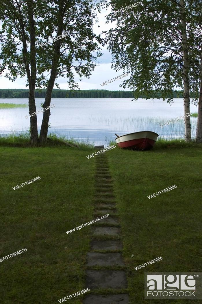 Stock Photo: Boat, Grass, Green, Lake.