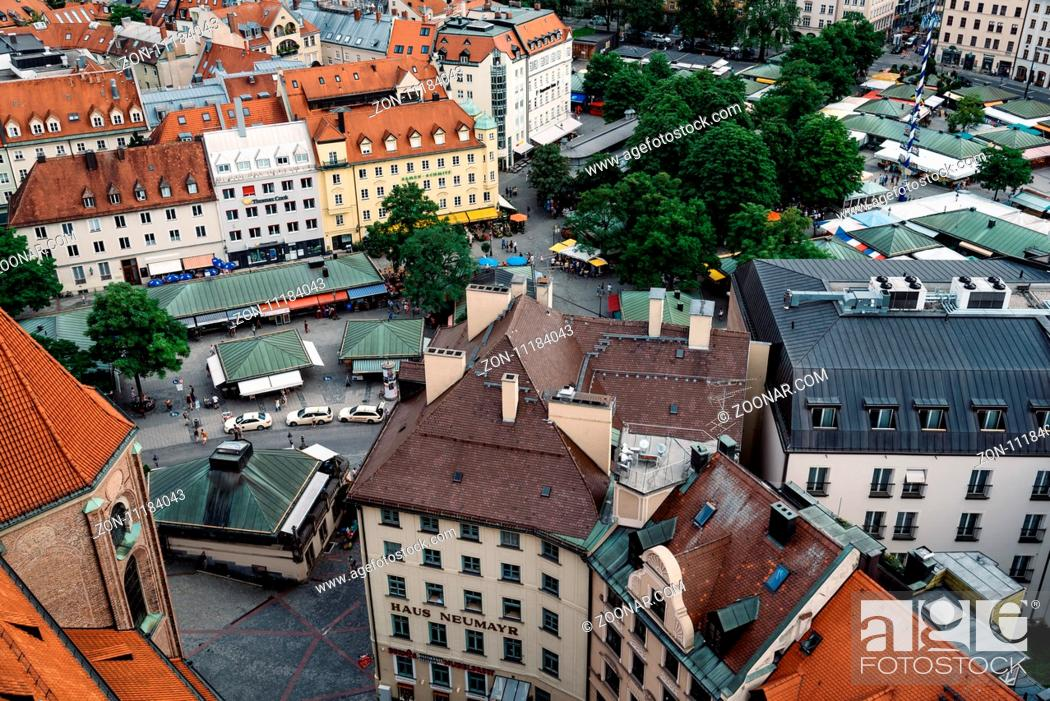 Stock Photo: Munich, Germany - August 3, 2017: Scenic panoramic high angle view of historical city centre of Munich from the tower of the church of St Peter.