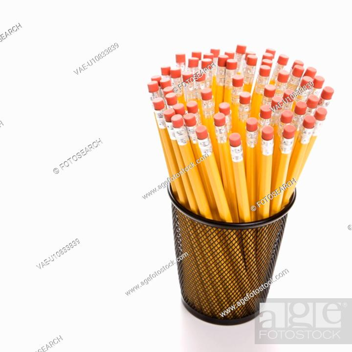 Stock Photo: Group of pencils in pencil holder.