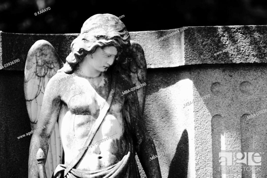Stock Photo: grave yard, grave, statue, angels, s/w,.