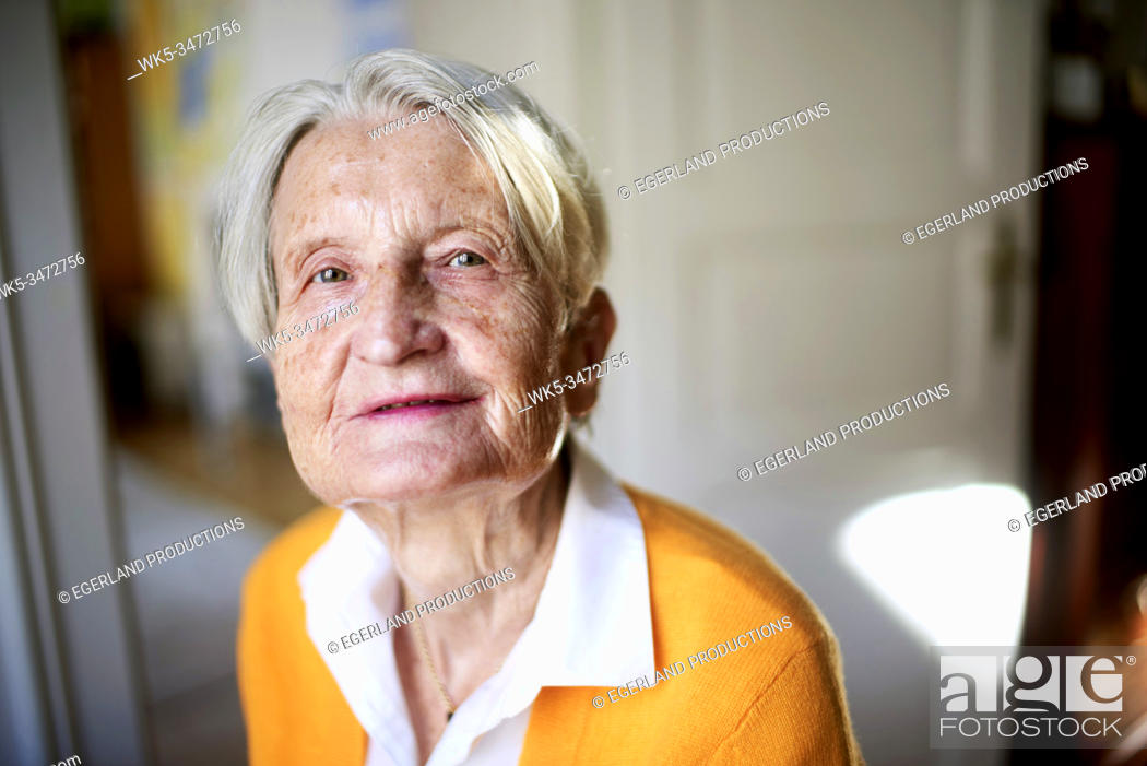 Stock Photo: Portrait of senior woman at home.