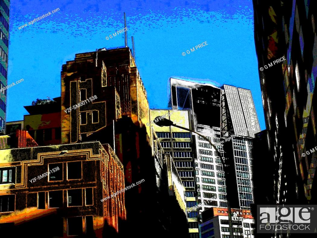 Stock Photo: sketchy, false colour image of Sydney office buildings.