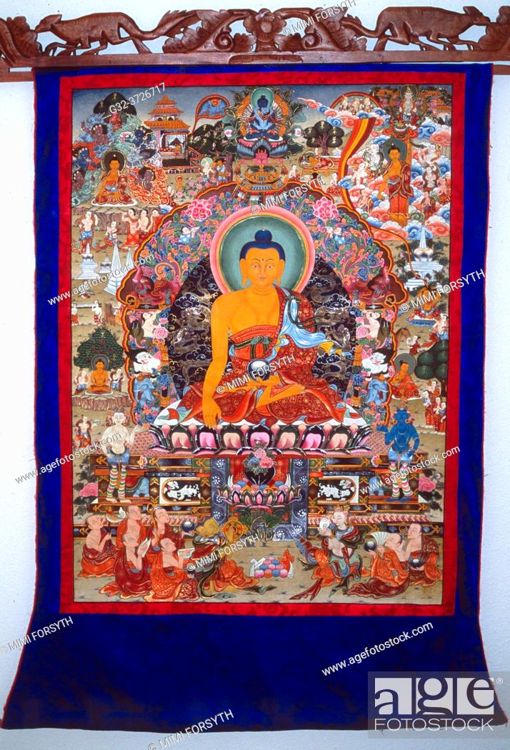Stock Photo: Tibetan thanka, Buddha enthroned on lotuses, USA.
