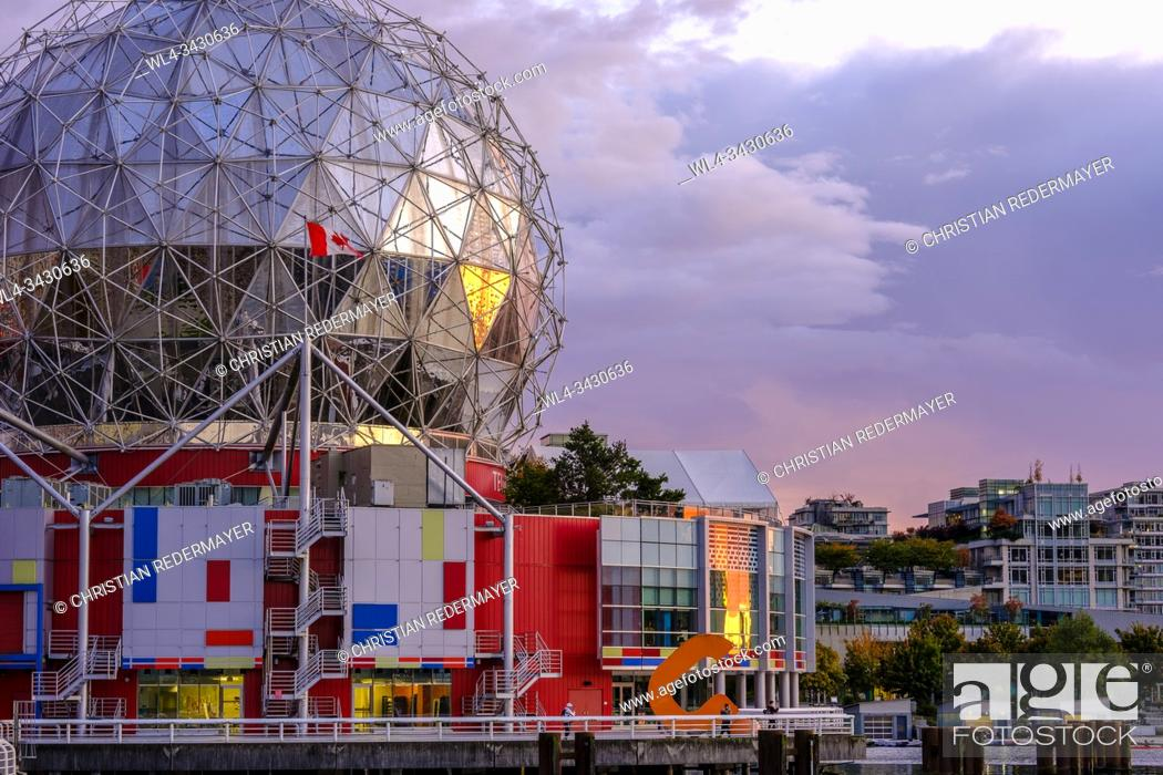 Stock Photo: False Creek and Science World during a wondeful sunset. Vancouver, Canada.