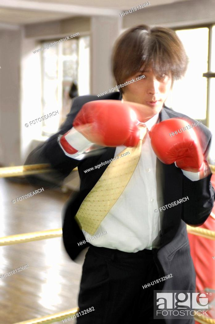 Stock Photo: Office worker on the ring.