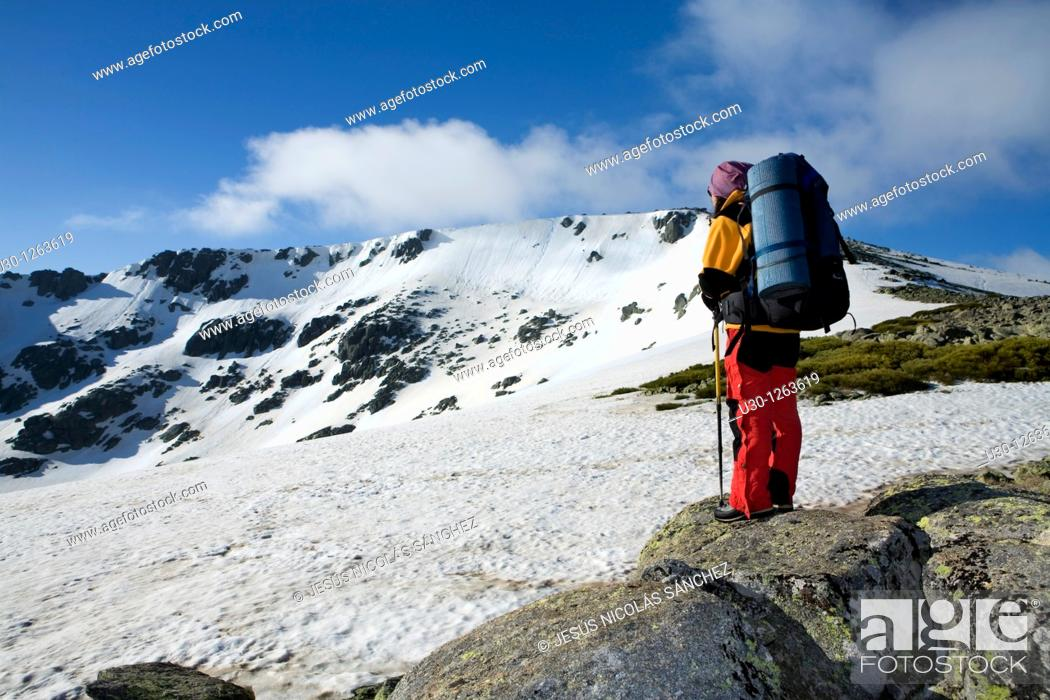 Stock Photo: Woman practicing mountaineering in the Sierra de Béjar Natural Park, in the provincial boundary between Salamanca and Avila.