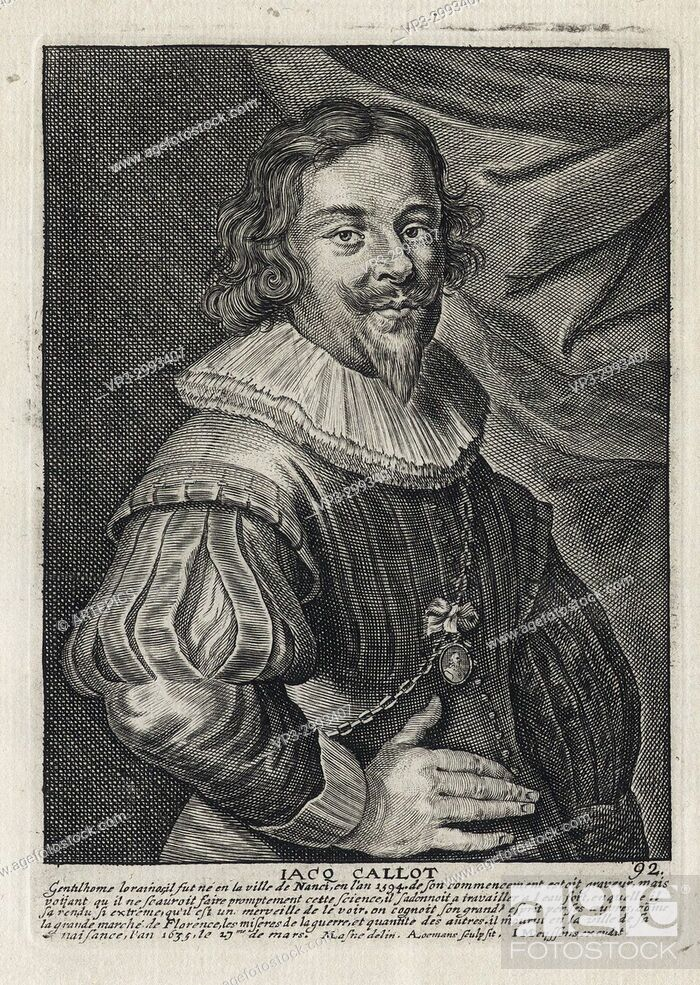 Imagen: JACQ CALLOT - Woodcut portrait and short biography (old french language) - Engraving 17th century.