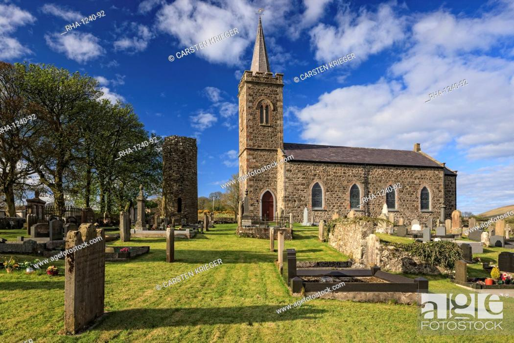 Stock Photo: Church and Roundtower, Fermoy, County Antrim, Ulster, Northern Ireland, United Kingdom, Europe.
