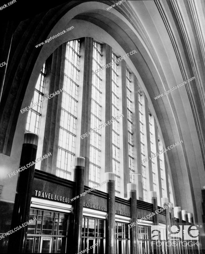 Stock Photo: Cincinnati Union Terminal, west wall of concourse, constructed in 1933, partially demolished in 1974, Cincinnati, Ohio, photograph circa early 1970s.