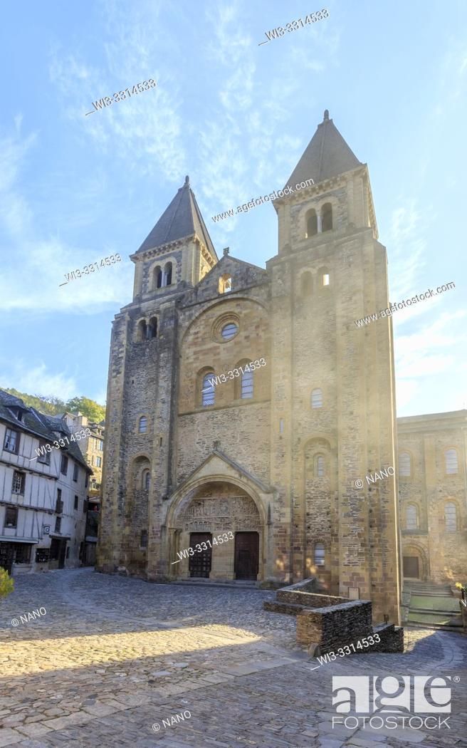 Stock Photo: France, Aveyron, Conques, labelled Les Plus Beaux Villages de France (The Most Beautiful Villages of France), stop on El Camino de Santiago, Sainte Foy abbey.