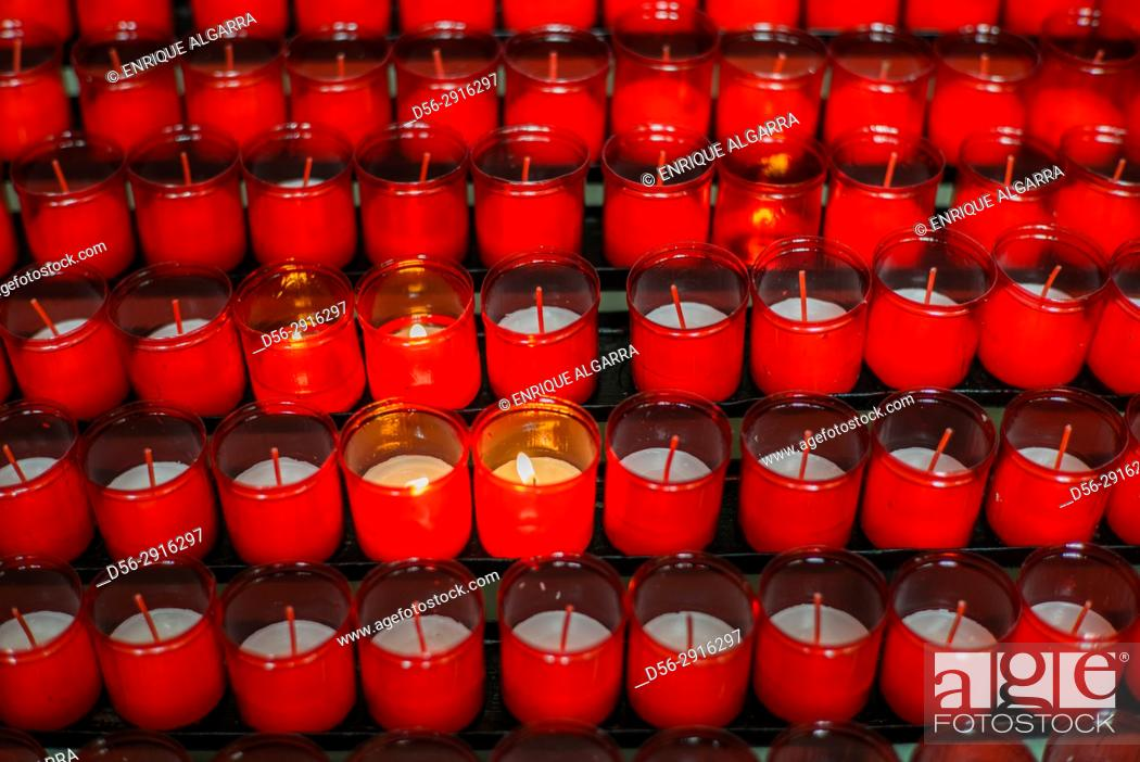 Stock Photo: Candles in a church, Salamanca, Spain.