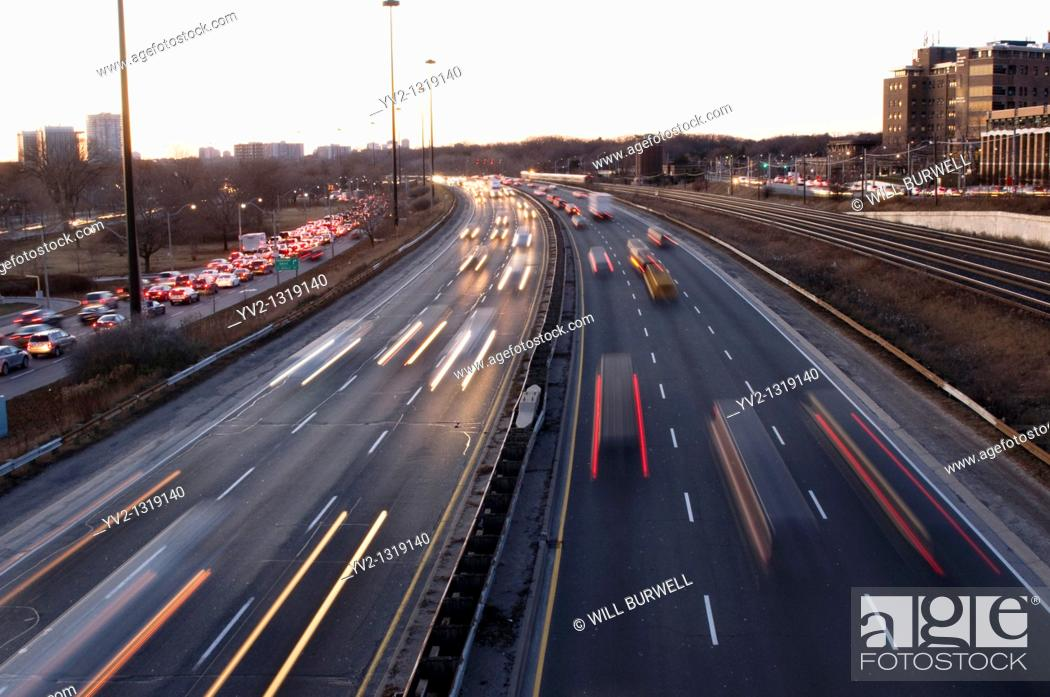 Stock Photo: Traffic on a highway in Toronto Ontario Canada.