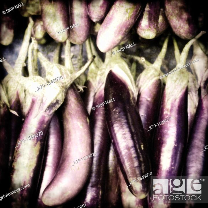 Stock Photo: Egg plant in market.