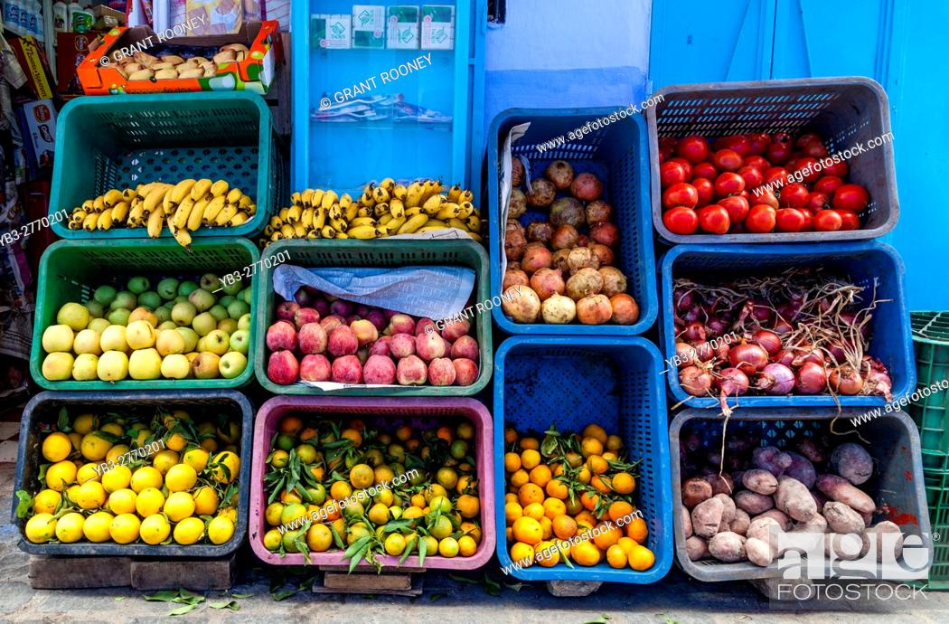 Stock Photo: A Fruit and Vegetable Display Outside A Shop, Chefchaouen, Morocco.