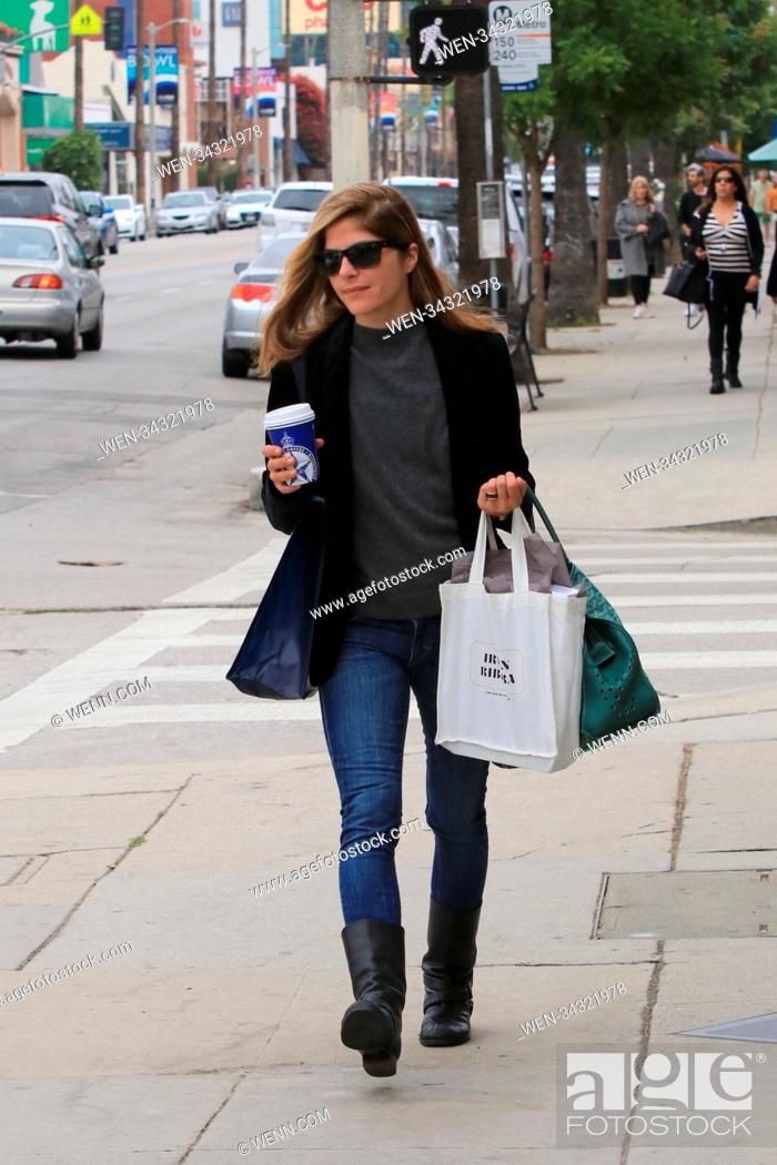 Stock Photo: Selma Blair picking up her daily coffee in Studio City, United States Featuring: Selma Blair Where: Studio City, California.