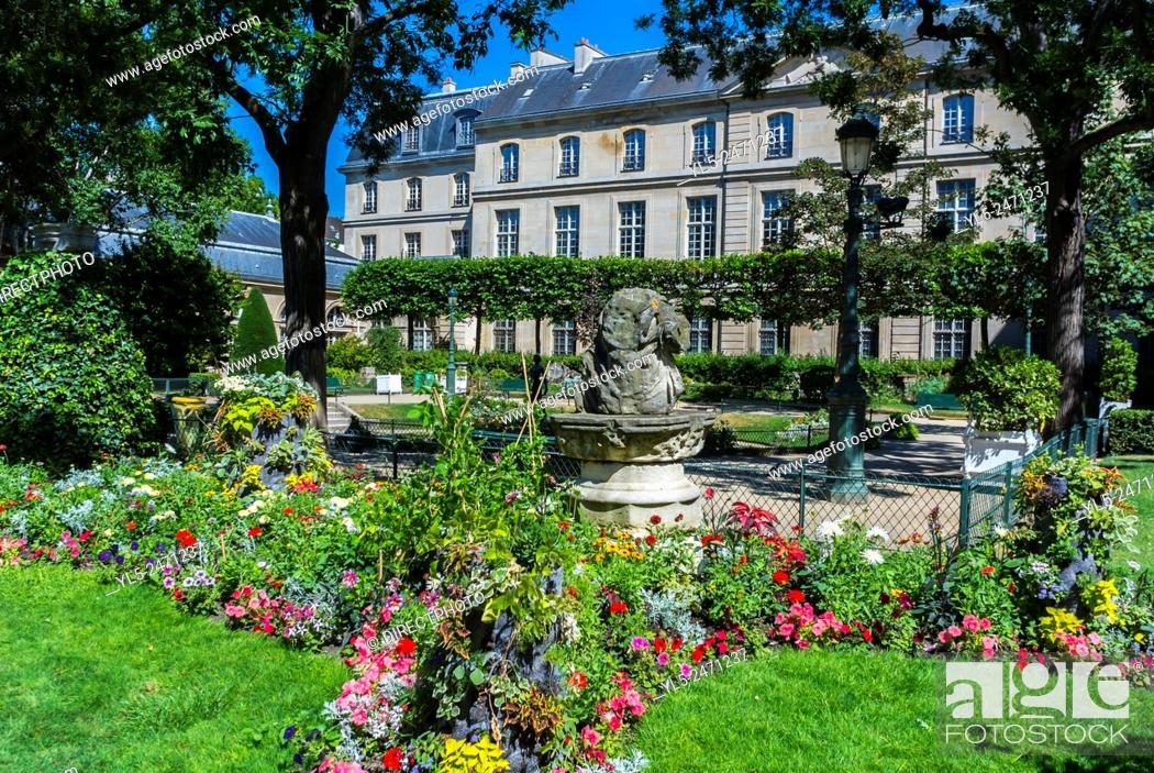 Stock Photo: Paris, France, Public Park in the Marais District. Square Georges-Cain.