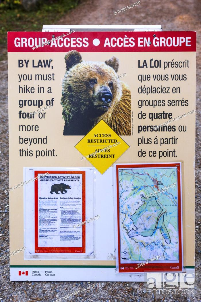 Stock Photo: Grizzly bear warning sign on the Larch Valley Trail, Banff National Park, Alberta, Canada.