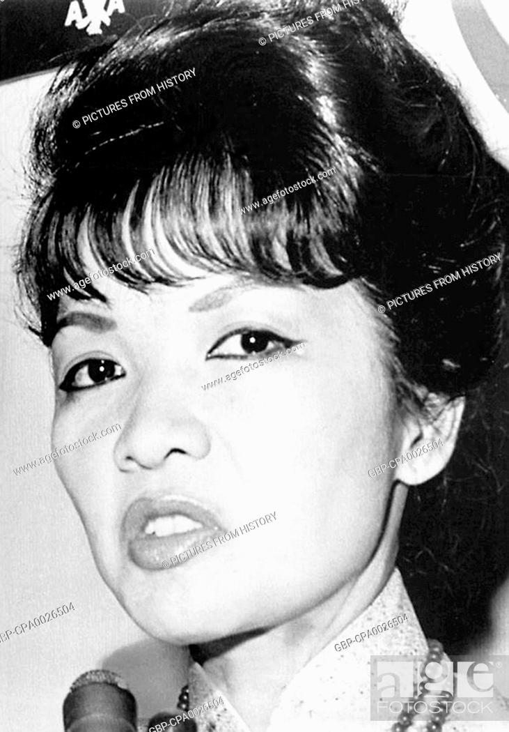 Stock Photo: Vietnam: Madame Ngo Dinh Nhu (1924-2011), First Lady of the Republic of Vietnam, 1955-1963, showing her displeasure at a reporter's question in Texas, 1963.